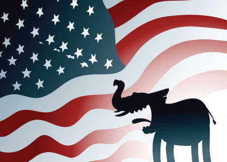 partisan: A cartoon silhouette of a friendly Republican elephant in front of a US flag backdrop.  Illustration