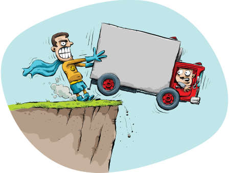 A cartoon superhero prevents a truck from driving off of a cliff.  Illustration