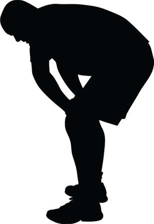 A silhouette of a man recovering after strenuous exercise.