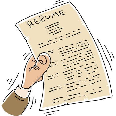 漫画手を振るし、履歴書を保持しながら矢筒します。