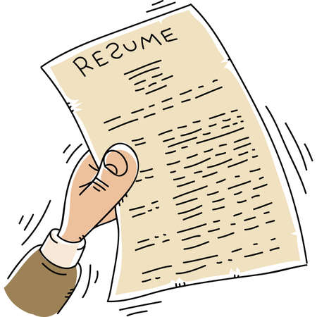 A cartoon hand shakes and quivers while holding a resume.