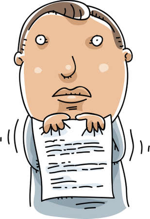 A cartoon man shivers with fear as he holds his resume.