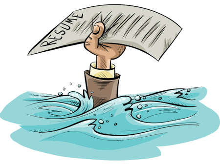 The cartoon hand of a drowning person holds up a resume as a last resort.