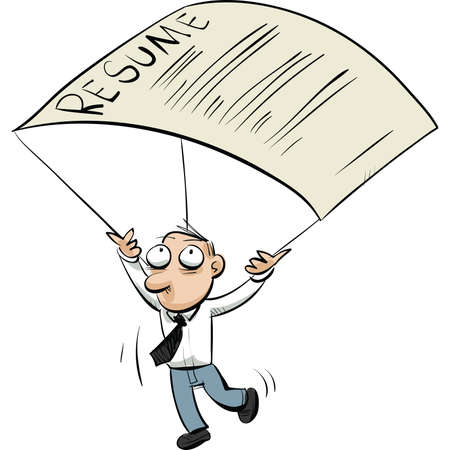 A cartoon man uses his resume to parachute to safety. Vector