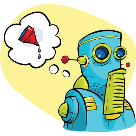 thinks: A cartoon robot thinks about oil.