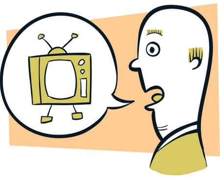 talking: A retro cartoon man talking about television. Illustration