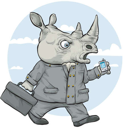 tough: A serious cartoon rhinoceros businessman walks and talks on his mobile phone.