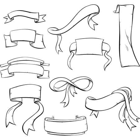 A set of cartoon, line art ribbons and banners. Çizim