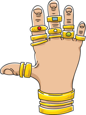 excessive: A cartoon hand covered with gold rings and bracelets. Illustration