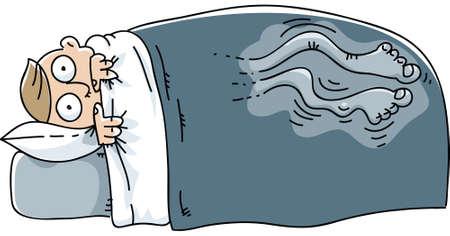 男は目を覚ます、むずむず脚症候群との闘争。