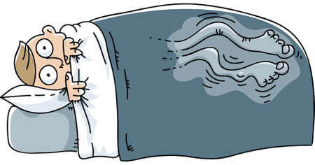 Een man wordt wakker en worstelt met rusteloze benen syndroom.