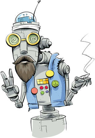 A robot hippie smoking a joint and making a peace sign. Vector