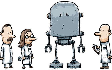Cartoon robot scientists examine their new creation.