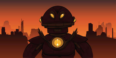 A dark and ominous cartoon robot in a desolate landscape.