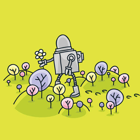 A robot picking flowers in a fresh, spring landscape. Vector