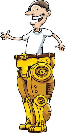 extravagant: A cartoon man wearing a pair of gold robot pants.