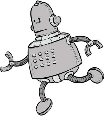 A cartoon robot, on the run. Stock Vector - 29636992