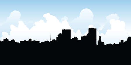 business district: Skyline silhouette of the city of Rochester, New York, USA.