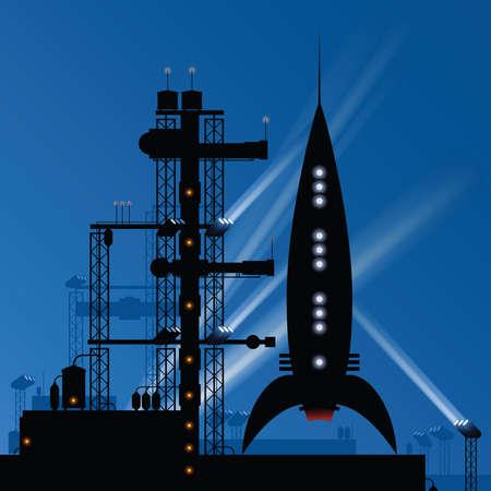 離陸する準備をして発射台の上の夜のレトロな漫画ロケット。