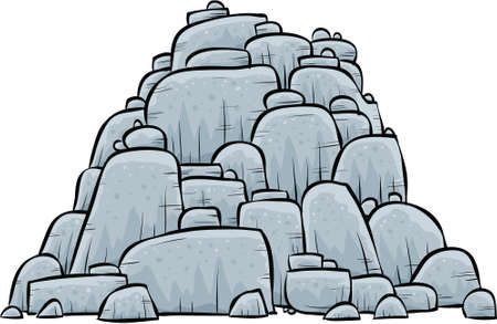 A pile of grey, stone boulders.