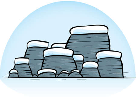 A group of cartoon rocks covered in snow.