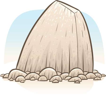 Een grote rots weefgetouwen over kleinere rotsen.