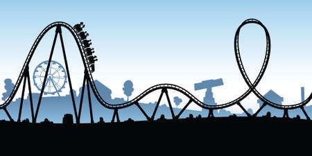 A cartoon silhouette of a rollercoaster in an amusement park.