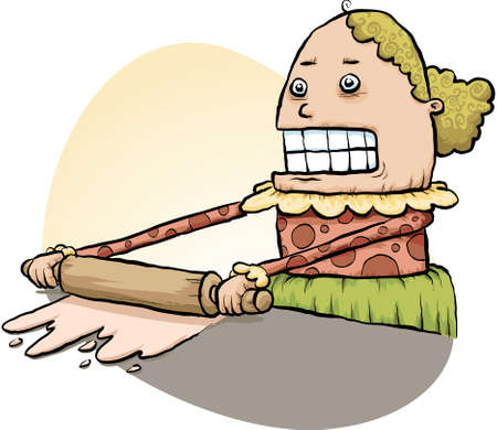 A cartoon woman flattens dough with a rolling pin.