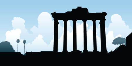old ruin: Cartoon silhouette of ruins in Rome, Italy.