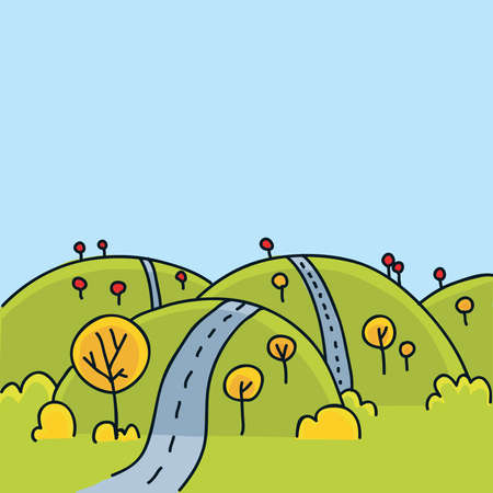 A cartoon road running over the hills in autumn.