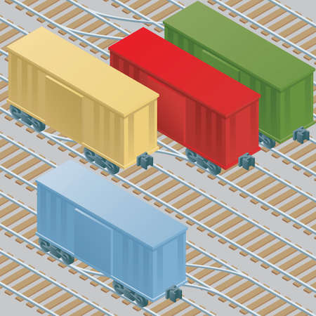 boxcar: Cartoon boxcars at rest in a railyard.