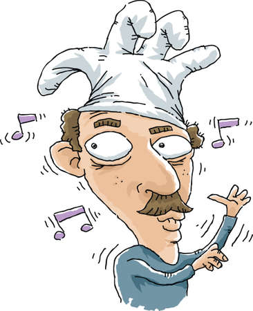 A silly cartoon man wears a rubber glove as a hat on his head.