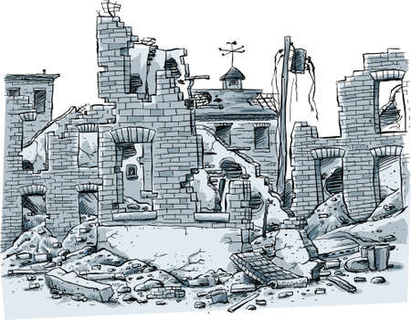 A cartoon scene of ruined buildings.
