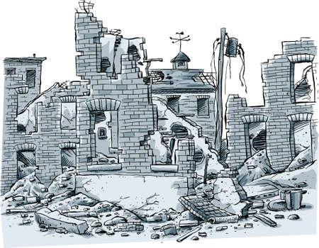Ein Cartoon-Szene von zerstörten Gebäuden.