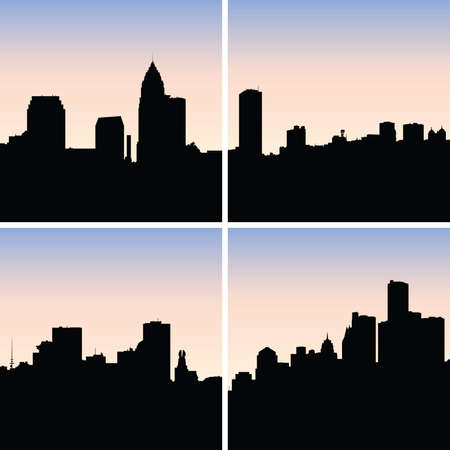 Collection of skyline silhouettes of the US Rustbelt cities: (clockwise)Cleveland,Buffalo,Detroit, Rochester. Vector