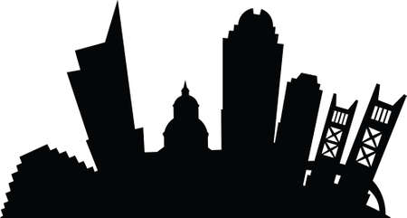 sacramento: Cartoon silhouette of the city of Sacramento, California.