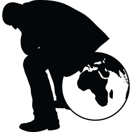 A silhouette of a businessman, sitting on a globe and thinking. Illustration