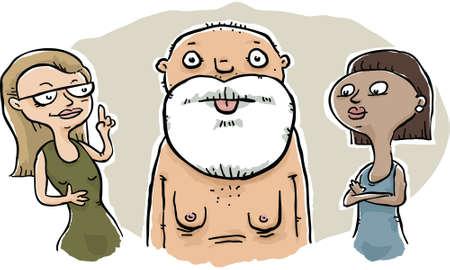 A pair of women consider a seniors saggy manboobs.