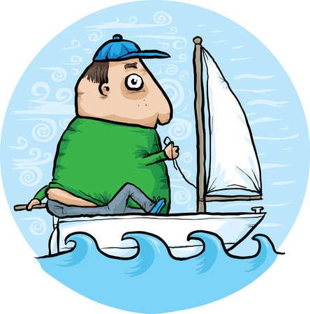 A cartoon man sailing in his tiny boat.