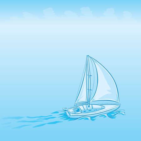 A cartoon sailboat moving forward on a calm, misty day.