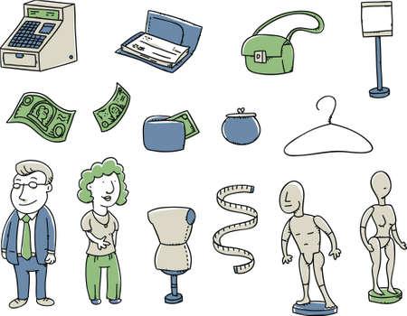 cash money: Set of cartoon sales elements in a simple line art style.
