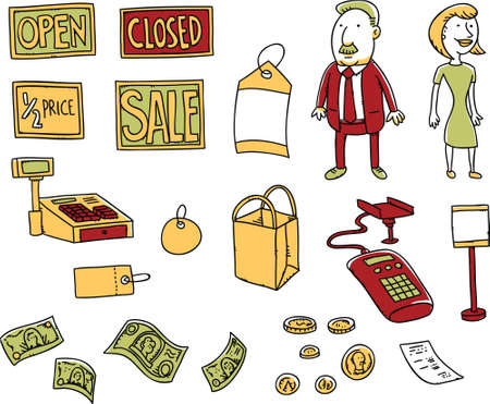 Set of cartoon retail sales elements in a simple line art style.