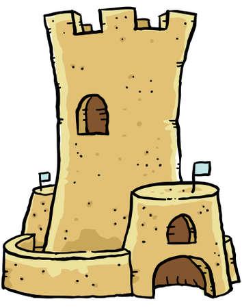 sandcastle: A cartoon sand castle.
