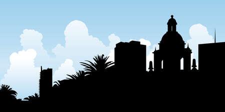 diego: Skyline silhouette of the city of San Diego, California.