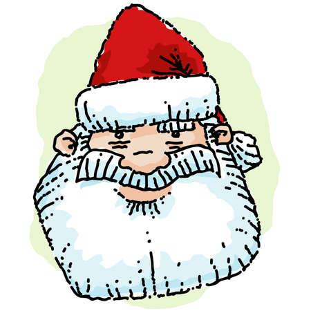 Cartoon portrait of the face of Santa Claus. Çizim