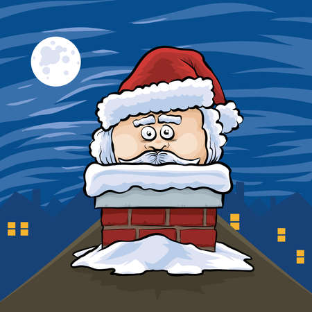 stuck: Cartoon Santa Claus pokes his head out of a chimney. Illustration