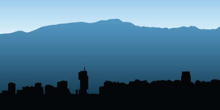 santiago: Skyline silhouette of the city of Santiago, Chile. Illustration