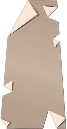 サスカチュワン州、カナダの引き裂かれ、剥離紙の地図。