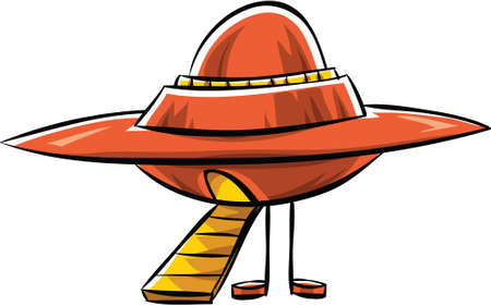 A retro cartoon flying saucer with landing ramp extended.