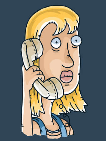 woman on phone: A cartoon woman receives a spooky phone call.